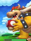 Screenshot of Giant Bowser holding a Mushroom in Mario & Luigi: Bowser's Inside Story + Bowser Jr.'s Journey