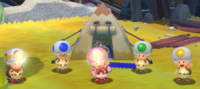 Screenshot of the Toad Brigade in Super Mario 3D World + Bowser's Fury