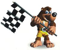 Banjo holds a checkered flag in Diddy Kong Racing
