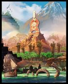 Concept art of Donkey Kong Country Returns showing a ruins-like temple featuring an 8-bit Donkey Kong holding up a Wii Remote.