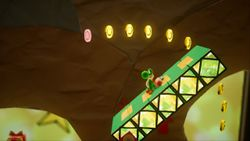 Floppin' and Poppin', the third level of Hidden Hills in Yoshi's Crafted World.