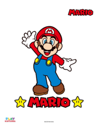 Fully-colored picture in a paint-by-number activity with Mario