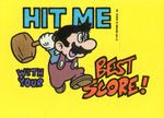 """A sticker of Jumpman holding a hammer with the text """"hit me with your best score!"""" from the Nintendo Game Pack tip card #13"""