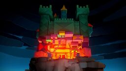 Peach's Castle folded into an Origami Castle in Paper Mario: The Origami King