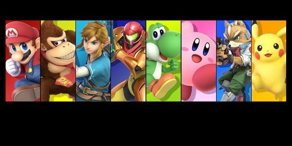 Banner for a Super Smash Bros. Ultimate Play Nintendo opinion poll. Original filename: <tt>2x1-SSBU_poll_1.0290fa98.jpg</tt>
