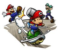 Artwork of Mario kicking a Green Shell, which Baby Mario is riding, in Mario & Luigi: Partners in Time
