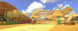 The course as seen from the starting line in Mario Kart 8