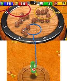 Screenshot of Git Along, Goomba a General minigame from Mario Party: Island Tour.