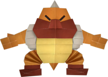 An origami Boss Sumo Bro from Paper Mario: The Origami King.