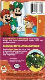 The front and back covers for Super Mario Bros. 3: Misadventures In Babysitting