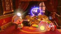 Captain Toad and Toadette sleeping near a Super Gem.