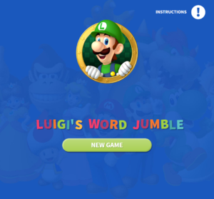 Luigi's Word Jumble title screen