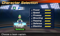 Luigi's stats in the soccer portion of Mario Sports Superstars