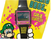 Front side of a Luigi Game & Watch game zoomed in.