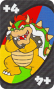 The Wild Draw 4 card from the UNO Super Mario deck (featuring Bowser)