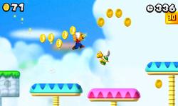 Mario wearing a Gold Block in New Super Mario Bros. 2.
