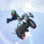 Luigi performing a Trick in Mario Kart Wii