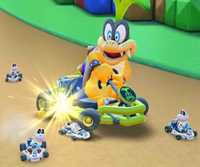 The icon of the Fire Bro Cup challenge from the Mario vs. Luigi Tour in Mario Kart Tour