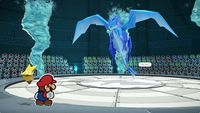 Mario faces off against the Water Vellumental in Paper Mario: The Origami King