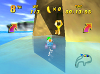 Tiptup finds the Wish Key of Crescent Island in Diddy Kong Racing