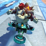 Dry Bowser performs a trick.