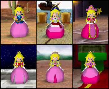 Princess Peach's outfits in the game Mario Party 2.