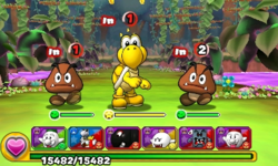 Screenshot of World 8-1, from Puzzle & Dragons: Super Mario Bros. Edition.