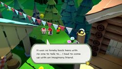 A Toad saved from being crumpled in Paper Mario: The Origami King. The eleventh hidden Toad in Whispering Woods.
