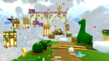 """A screenshot of Cloudy Court Galaxy during the """"Head in the Clouds"""" mission from Super Mario Galaxy 2."""