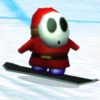 A Shy Guy Snowboarder from Mario Kart Wii
