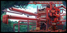 Concept artwork from Donkey Kong Country Returns showing a factory with many features based on components of some Nintendo home consoles. There is a hidden character at the right of the artwork.