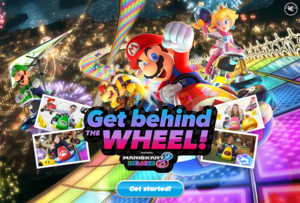 The title screen for Mario Kart 8 Deluxe Kart Customizer Game