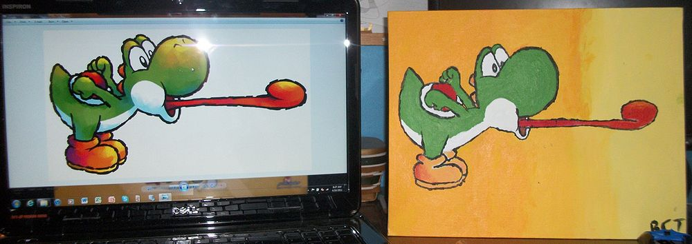 This is my painting of Yoshi (right) compared with the original artwork (left). Awesome, isn't it?