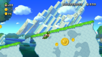 Luigi getting the second Star Coin in the level Waddlewing Warning from New Super Luigi U.