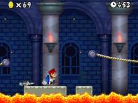 """Shell Mario in New Super Mario Bros.'""""`UNIQ--nowiki-00000000-QINU`""""' World 1-Castle."""