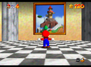 Mario entering the painting of Whomp's Fortress
