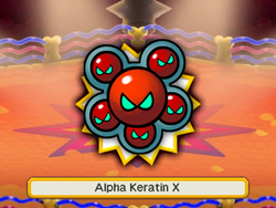An artwork of the X boss before fighting it. In this case, it's Keratin.