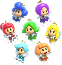 Group artwork of the Sprixie Princessess from Super Mario 3D World.