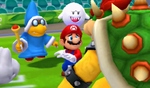 Mario is cornered by Bowser, Magikoopa, Dry Bones and Boo