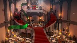 Interior of Bowser's Castle in Paper Mario: The Origami King