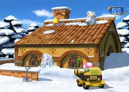 Wario freezes in Snow Way Out from Mario Party 8