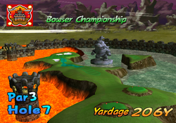 A screenshot of the intro video of hole 7 from bowser badland