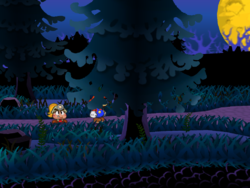 Screenshot of Mario at a hidden ? Block location in Twilight Trail, in Paper Mario: The Thousand-Year Door.