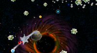 A screenshot of Mario traversing the Sling Pod Galaxy.