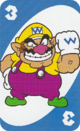 The Blue Three card from the UNO Super Mario deck (featuring Wario)