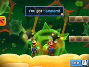 Mario and Luigi getting their hammers in the Trash Pit from Mario & Luigi: Bowser's Inside Story and Mario & Luigi: Bowser's Inside Story + Bowser Jr.'s Journey