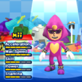 Espio the Chameleon Mii Costume in the game Mario & Sonic at the London 2012 Olympic Games for the Wii.