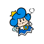 Mad blue Sprixie Princess stamp from Super Mario 3D World + Bowser's Fury.