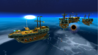 "A screenshot of Bowser Jr.'s Airship Armada during the ""Sinking the Airships"" mission from Super Mario Galaxy."