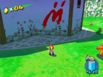 A Blue Coin in Bianco Hills in the game Super Mario Sunshine.